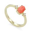 Золотое кольцо с глубоководным кораллом и бриллиантами  SL-155-253k весом 2.53 г  стоимостью 18500 р.