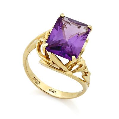 Кольцо с прямоугольным аметистом в желтом золоте 6.92 г SL-2177-692